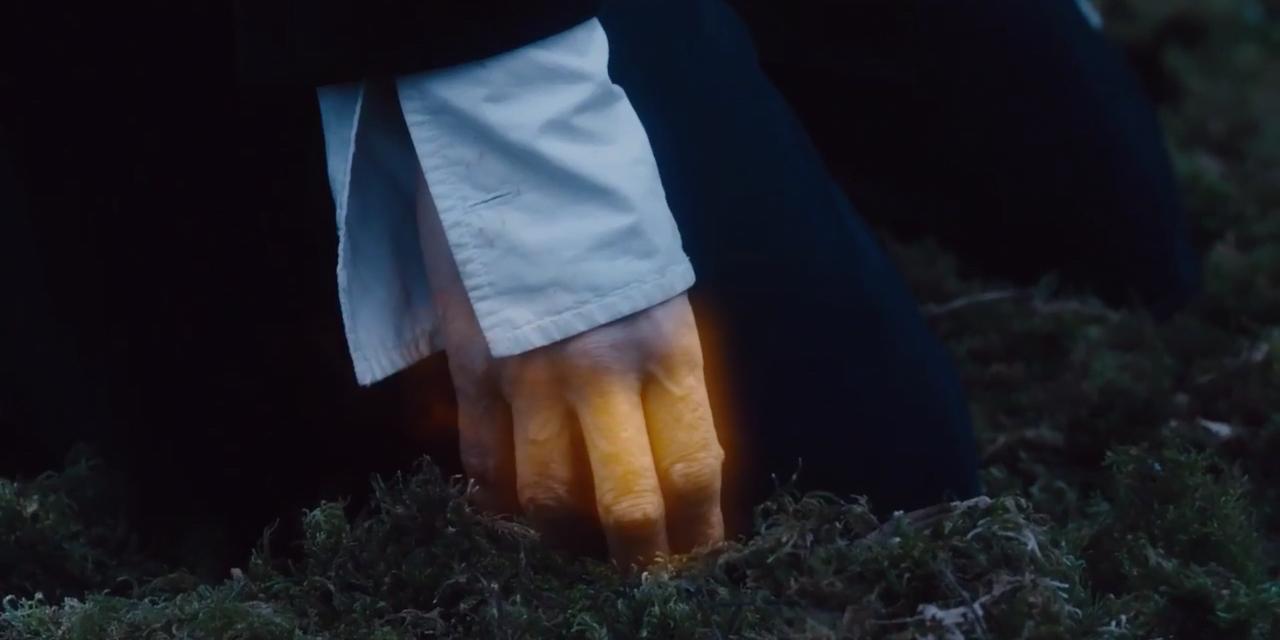 Dłoń Dwunastego Doktora świecąca energią regeneracyjną.