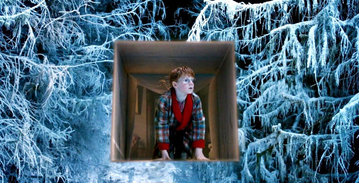 The Doctor, the widow and the wardrobe - chłopiec wychodzi z prezentu w śnieżny las