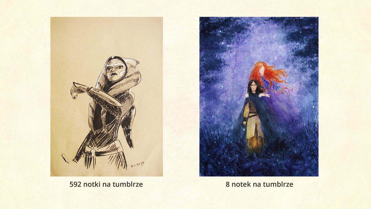 Jak komentować sztukę? Fanart versus oryginalna praca. Fanart ma o wiele więcej reakcji na tumblrze