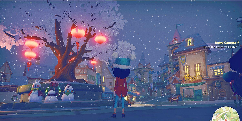 screen z gry My Time at Portia przedstawiający zimowy miejski krajobraz