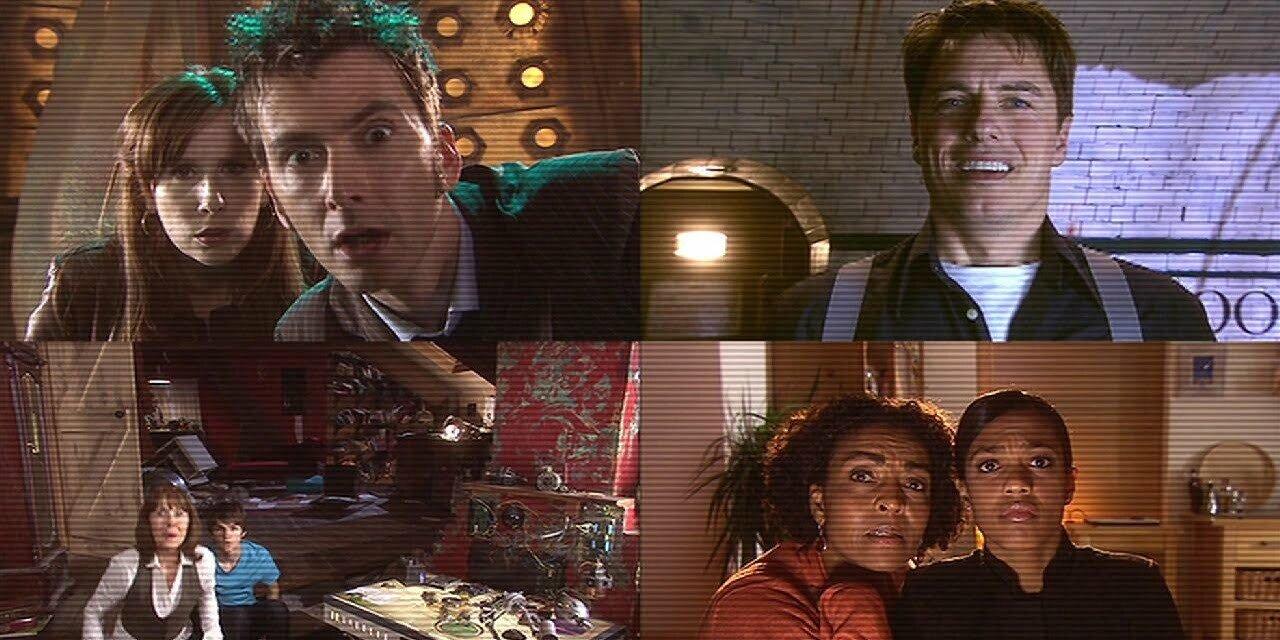 Dziesiąty Doktor, Donna, Jack Harkness, Sarah Jane Smith, Luke, Martha i Francine, The Stolen Earth